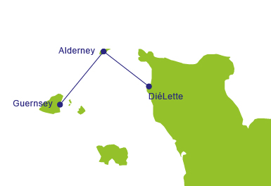 Ferries to Alderney - Map of Routes