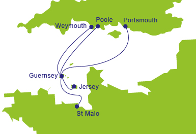 Ferries to Guernsey - Map of Routes