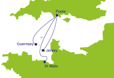 Ferries to Jersey - Map of Routes