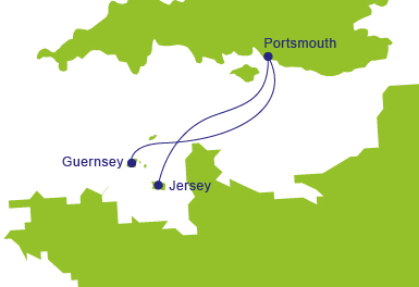 Ferries to Portsmouth - Map of Routes